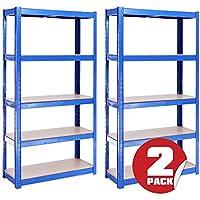 G-Rack Anaqueles de Almacenamiento para Garaje, con Capacidad de 875 kg, 175 kg por repisa, Conjunto Azul 5, 2 Piezas de 150 x 75 x 30 cm