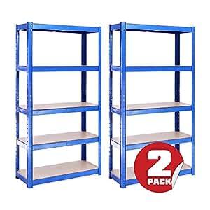 2 bay 150 cm x 75 cm x 30 cm blau 5 etagen 175kg pro. Black Bedroom Furniture Sets. Home Design Ideas