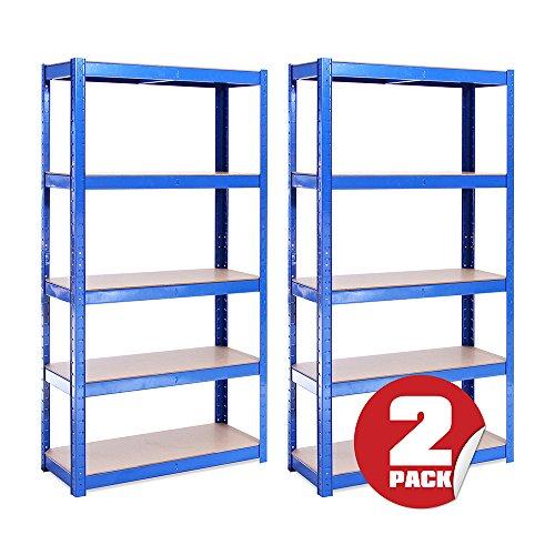 Estantería metálica de Almacenamiento para Garaje (2 Piezas) - 5 Estantes (175KG de Carga Cada Balda) - Capacidad para 875KG - Muy Resistente, Azul, 150cm x 75cm x 30cm