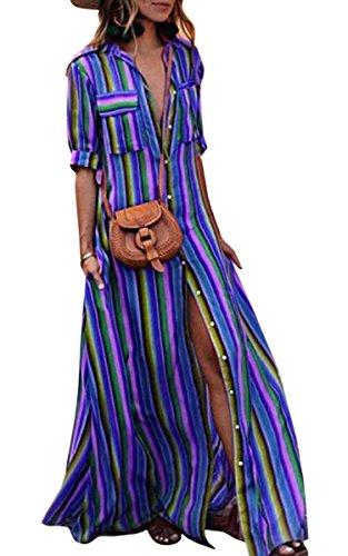 ECOWISH Damen Kleid Boho Gestreift Bunt Sommerkleid Lose Casual Taschen Kragen Button Down...