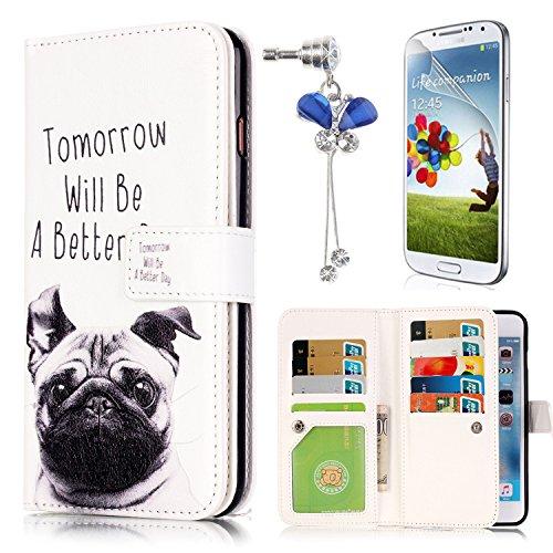 Custodia Samsung Galaxy S5, Sunroyal® Custodia in Pelle, in Piedi la Vista Diario Custodia Copertura di Vibrazione Portafoglio Flip Cover con Chiusura Magnetica per Samsung Galaxy S5 S V I9600 / S5 Neo G903 (Cane sveglio)