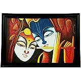 """Gallery99 Radha Krishna Paintings,radha Krishna Wall Hangings, Radha Krishna Paintings With Frame For Living Room, Radha Krishna Paintings On Canvas, Radha Krishna Paintings Large, 100% Original Canvas Oil Painting - Size-40"""" X 28""""(Inches)"""