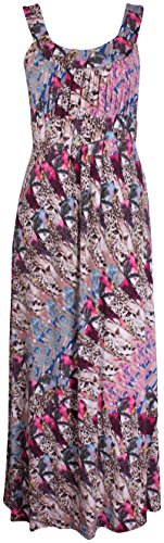 Damen Übergröße Paisley Animal Bedruckt Damen Ärmellos Riemen Krawatte Langes Top Maxi Kleid Animal
