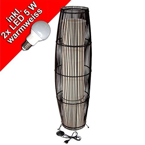 Bambus / Rattan Stehleuchte, Stehlampe 2 flammig, dunkelbraun,ca. 105 cm, incl. 2 x 5 WattLED Leuchtmittel