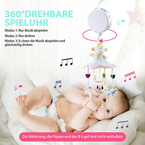 【Neue Version】TopElek Elektrische Baby Spieluhr mit 128 MB Micro-SD-Speicherkarte(Erweiterbar bis 2 GB) für Ihr Babymobile, 12 Melodien inklusive. - 5