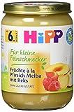 Hipp Frucht & Getreide, Für kleine Feinschmecker à la Pfirsich-Melba mit Keks, 6er Pack (6 x 298 g)