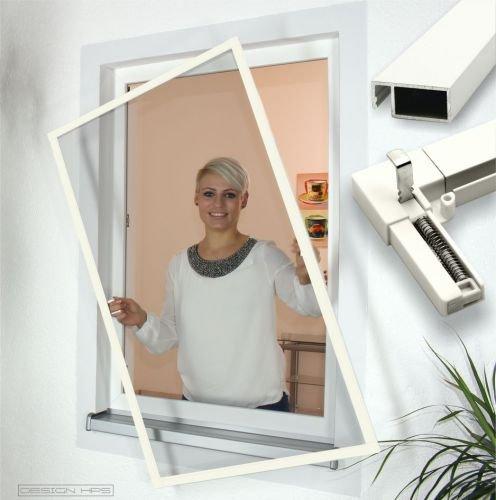 Insektenschutz Fenster Comfort mit Feder-Haken Größe 80x120cm, Farbe weiß