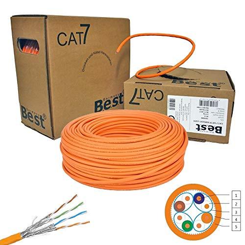 netshop 25 CAT.7 Verlegekabel Gigabit 10Gbit Netzwerkkabel 1000Mhz S/FTP CAT7 Installationskabel PIMF Kabel Netzwerk Verkabelung LAN Datenkabel 4x2xAWG23/1 orange 10/100/1'000/10'000 MBit -