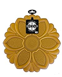 Talisman Designs No-Slip Grip Hot Pad, Pot Holder & Trivet, BPA-free Silicone, Gold, 7.5' Diameter