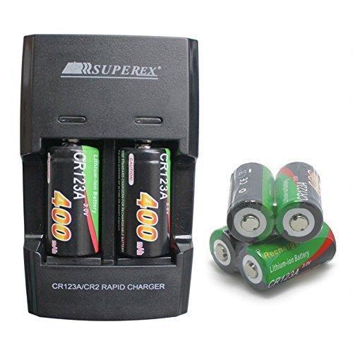 SUPEREX® 6 Stücke CR123 16340 wiederaufladbare aufladbare ladbare Batterien rechargeable battery digital kamera Photo camcorder + Akku Ladegerät Ladestation, auflader für 3V 400mAh CR123A Lithium-Ionen Schnellladegerät Externer Akku schwarz