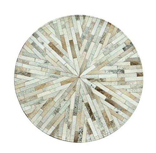 Preisvergleich Produktbild Modebereich Teppiche und Wohnzimmer Mat Leder Nähte Runde Teppiche Studie Nordic Wohnzimmer Couchtisch Schlafzimmer Nachttisch Teppich Fliesen Matte (Beige Stripes) Drehstuhl Pad ( größe : Diameter 120cm )