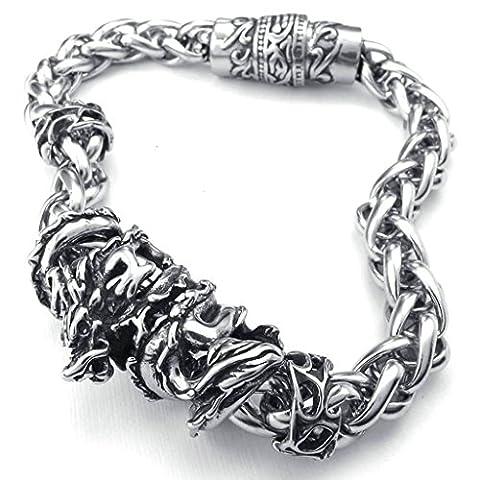 AMDXD Bijoux Acier Inoxydable Bracelets de Liaison pour Hommes Dragon Argent