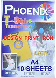 A4 Size Iron On T Shirt Transfer Paper FOR Light Colour Fabrics 10 Sheets