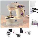 Mini 4 In 1 Mini Portable Sewing Machine Works With Battery & Electricity with foot pedal bobbin and adapter