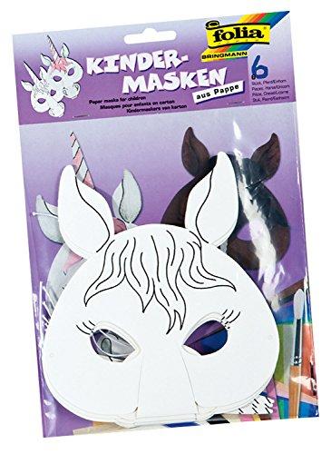Folia 23203 - Kindermasken Pferd/Einhorn, 6 Stück, weiß