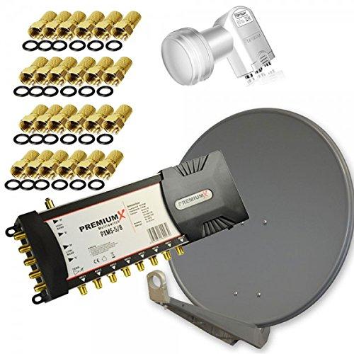 Antenne PremiumX DELUXE80 Aluminium 80cm Digital SAT Schüssel Spiegel in Anthrazit + Multischalter PremiumX PXMS-5/8 Multiswitch für 8 Teilnehmer + LNB Quattro 0,1 dB Opticum LRP-04H für Multischalter + 24x F-Stecker GRATIS!!!