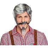 Un set de barbe grise bavaroise bouc homme 2 pcs Bouc gris et moustache poivre et sel barbiche et moustache Oktoberfest moustache de papi barbe de déguisement costume accessoires hommes
