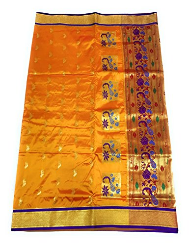 HARIOM WHOLESALE DEPO Women's Silk Saree With Blouse Piece (Hwdd4-Goldinkblue, Gold Blue,...
