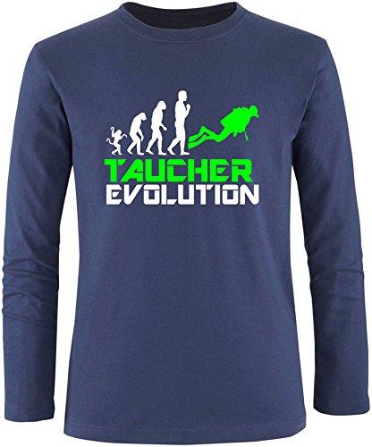 EZYshirt® Taucher Evolution Herren Longsleeve Navy/Weiss/Neongr