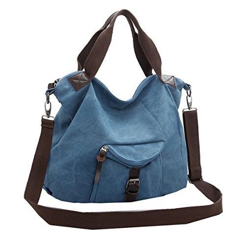 Yy.f Nuove Borse Di College Femminile Del Vento Di Tela Spalla Studente Borsa Messenger Di Moda Modelli Femminili Stoffa Borse Casual Big Bags Multicolore Blue