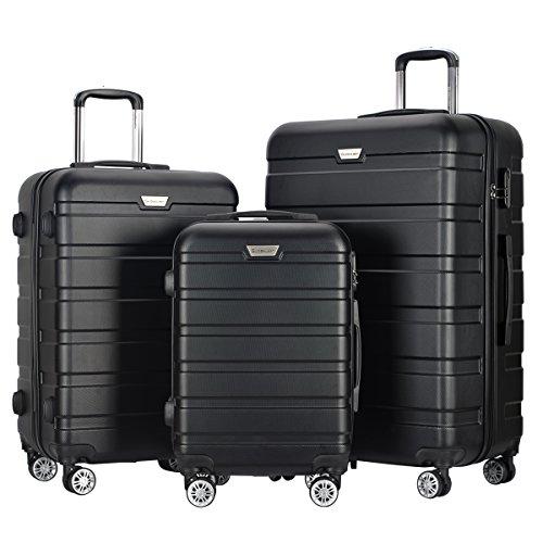 COSTWAY Koffer Set Trolley Set Reisekofferset Hartschalenkoffer Koffer Gepäckset mit Zahlenschloss Hartschale Farbwahl (Schwarz)