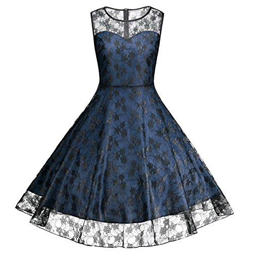 iShine Plus Size Kleid Damen Festliche Kleider Knielang Ärmellos Vintage Kleid Rockabilly Partykleid Cocktailkleid Übergröße-DB-5XL