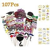 Yidaxing 107 PCS Photo Booth Props Accessori Fai da Te Colorati Occhiali Baffi Labbra Farfallino Cappelli su bastoni per Matrimonio Partito Natale Compleanno