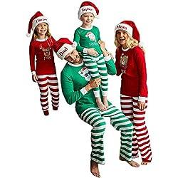 Navidad de BaZhaHei, Blusa Pantalones Familia Pijamas Ropa de Dormir Juego de Navidad de Mujeres mamá Casual Santa Tops Conjunto de Pijamas caseros de Manga Larga para Padres e Hijos de Hombre Mujer