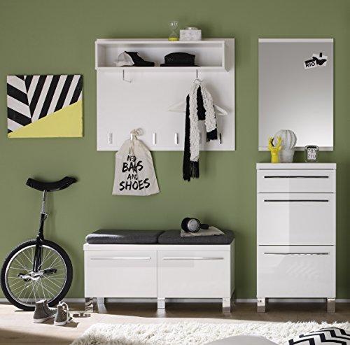 trendteam Garderobe Garderobenkombination 4-teiliges Komplett Set Derby, 180 x 190 x 35 cm in Weiß Hochglanz  mit viel Stauraum