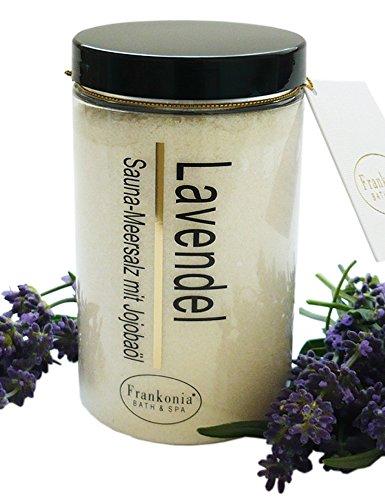 Lashuma Sauna Salz Lavendel Meersalz mit Jojobaöl, Körperpeeling 400 g -