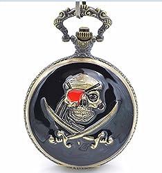 ShopyStore Watch Only Antique Style Skull Men39; S Bronze Tone Black Case White Dial Japan Quartz M