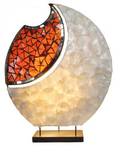 Glas Tisch Lampe (Lampe YOKO - Deko-Leuchte, Stimmungsleuchte, Tisch-Lampe, oval, natur, Glas-Mosaik-Steine)