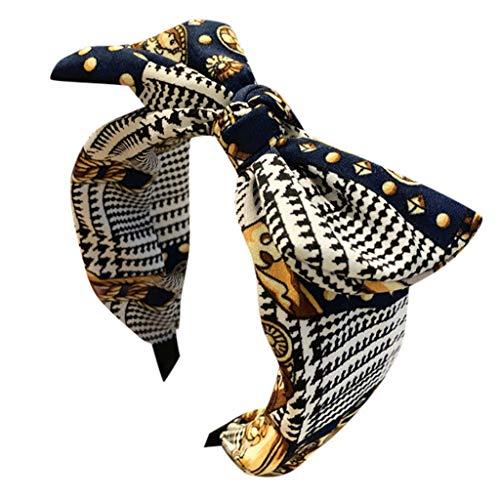 kolila Billig Stirnband Haarspange Ausverkauf Damen Cute Bow Knot Stirnbänder Zubehör Breite Seite Haarband Damen Mädchen(Marine)