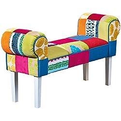 Banco de madera acolchado diseño multicolor 100 x 30 x 50 cm
