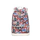 Evay Vintage Stil Bunte Drucken Vintage Rucksack Farbe Owl Muster Schulrucksäcke für Teenager Mädchen und Jungen Wasserdicht Casual Daypack hält 14 Zoll Laptop Rucksack