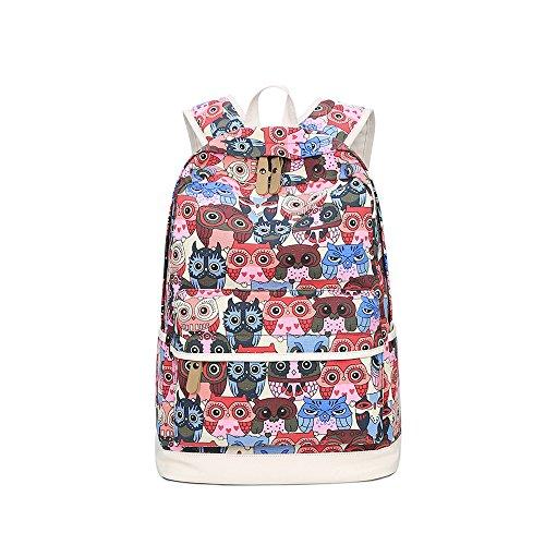 Estilo Vintage Evay Impresión colorida Ocio mochila color búho mochilas Modelo de la escuela para adolescentes y de muchachos mochila casual impermeable tiene 14 pulgadas mochila portátil