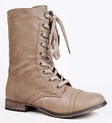 Fourever Funky Mujeres de piel sintética redondo Toe Lace Up botas de combate Militar, color Beige, talla 37,5 EU (M)