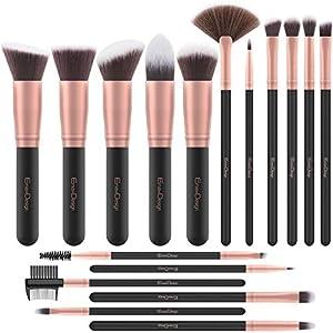 Brochas de Maquillaje EmaxDesign 17 piezas Pinceles de maquillaje professional fibra sintética para las cejas, base de…