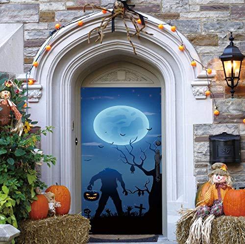 LRJDETCorpse ohne Kopf Halloween Dekoration Tür Aufkleber Vinyl DIY Tür Erneuern AufkleberSelbstklebende Tapeten Tür Murals77x200cm