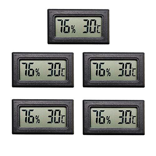 Thlevel Mini LCD Digital Thermometer Hygrometer Temperatur Luftfeuchtigkeit Tester für Kühlschrank Aquarium (5 PCS)