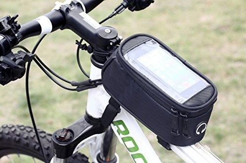 Fahrrad Oberrohr Smartphonetasche 'Tour' mit PVC-Bildschirm Fahrradrahmentasche & Handyhalterung & wasserabweisend & Handytasche & Rennrad / Mountainbike / Cyclecross / Cross-Rad / Fahrrad-Navi-gation, Größe:Large/Groß;Farbe:Schwarz