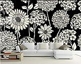 WH-PORP 3D Tapete American Pastoral Tv Hintergrund Wand Hortensie Home Decoration Schwarz und Weiß Wandbild 3D Tapete-250cmX175cm