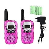 Lomoo Walkie-Talkie Bambini PMR446Mhz 8 Canali 0.5W 2-Way Radio con 8 Batterie Ricaricabili E Un Caricabatterie con Torcia- (1 Paio, Rosa)