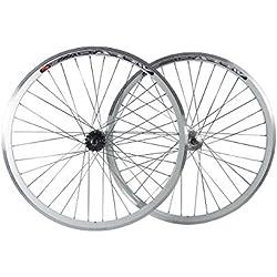 FIXED GEAR Fixie,, sola velocidad bicicleta ruedas con Joytech Flip Flop Track Hubs, Joytech Flip Flop, blanco