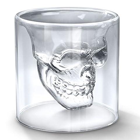 Verre à Alcool Forme de Tête de Mort Verre à Vin Skull Head Forme de Crâne Gram à Double Paroi Thermo Verres d'Eau en Verre à Vin en Verre à Whisky en Verre Cristal Tête de Mort Verres à Bière Creative Barre de Verres à Double Couche de Verre Cadeau idéal pour les Hommes des Femmes Verre Alcool (150ML)