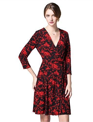 Sarah Dean Newyork - Robe - Robe - Femme rouge imprimé imprimé