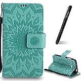 Schutzhülle für Nokia Lumia 630 Grün,Slynmax Mandala Blume Hülle Wallet Case Handyhülle für Nokia Lumia 630/635 Tasche Klapphülle Flip Cover Ledertasche Brieftasche Lederhülle Handytasche,Flower