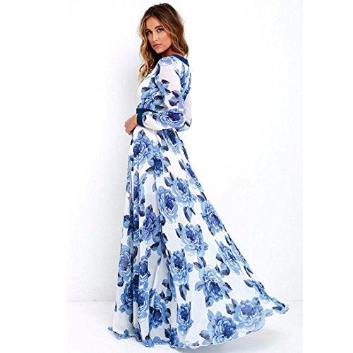 Robe Longue De Soirée Maxi Dames Boho Summer Print Dress Rawdah Mode Femmes Robe Robe Bustier à Fleurs à Imprimé Floral Et à Manches Longues Pour Femmes (XXL, Bleu)
