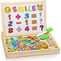 Puzzles Enfant en Bois Magnétique, Dookey Jigsaw avec Tableau Noir de Chevalet à Double Face Jouets Educatif pour Bambin Enfants Fille 3 Ans+ - Lettres et Chiffres - environ 100 Pièces