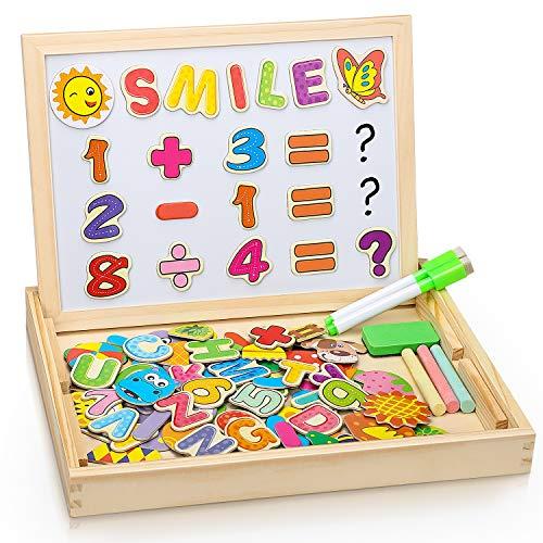 DOOKEY Puzzles Rompecabezas Magnéticos de Madera, Juguete Educativo Tablero de Dibujo de Doble Cara para Niños Niña 3 Años 4 Años 5 Años - Acerca de 100 Piezas (Número y Letra) …